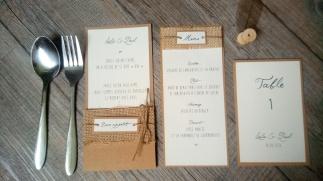 Menu, marque place, range-couverts, numéro de table, décoration de table de mariage thème champêtre - toile de jute - gamme mariage champêtre 6