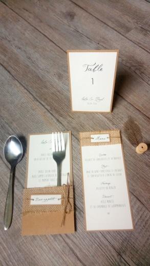 Menu, marque place, range-couverts, numéro de table, décoration de table de mariage thème champêtre - toile de jute - gamme mariage champêtre