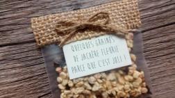 sachets de graines à offrir aux invités - cadeaux originial invités mariage thème champêtre - toile de jute - gamme mariage champêtre 10