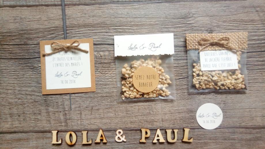 sachets de graines à offrir aux invités - cadeaux originial invités mariage thème champêtre - toile de jute - gamme mariage champêtre 3