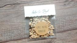 sachets de graines à offrir aux invités - cadeaux originial invités mariage thème champêtre - toile de jute - gamme mariage champêtre 6