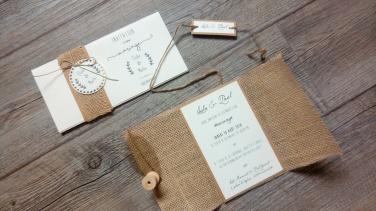 Save the date - réservez la date, faire-part de mariage thème champêtre - toile de jute - gamme mariage champêtre 3
