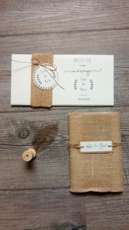Save the date - réservez la date, faire-part de mariage thème champêtre - toile de jute - gamme mariage champêtre