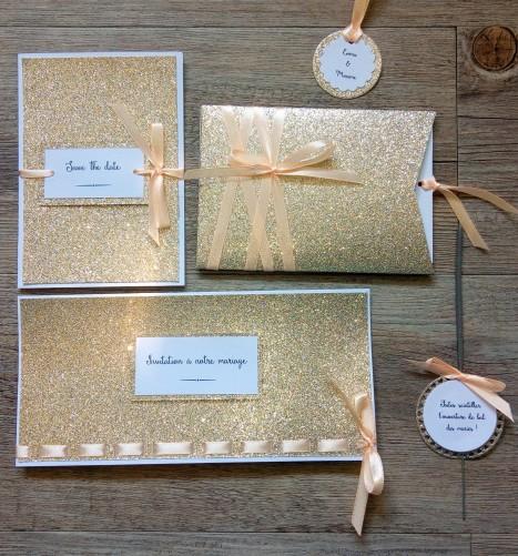 Faire-part de mariage or pailleté et pêche, décoration de mariage or doré pêche, save the date 1