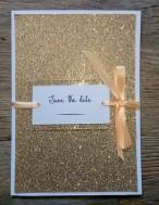 Faire-part de mariage or pailleté et pêche, décoration de mariage or doré pêche, save the date 2