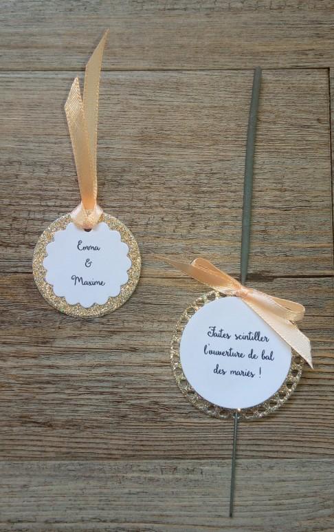 Faire-part de mariage or pailleté et pêche, décoration de mariage or doré pêche, save the date 4