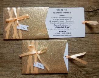 Faire-part de mariage or pailleté et pêche, décoration de mariage or doré pêche, save the date 6