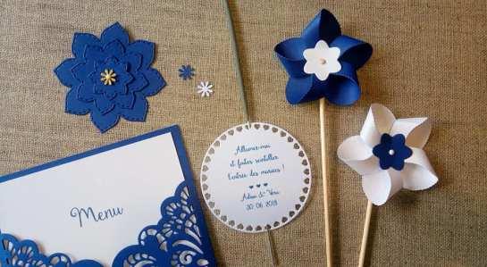 Décoration de table mariage - décoration mariage personnalisée - thème de mariage bleu et blanc - fleur - moulin à vent