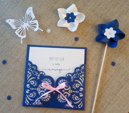 Faire-part de mariage bleu marine et blanc