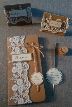 Faire part de mariage bohème, mariage thème bohème, décoration de table, menu, marque-place bohème dentelle, bois, save the date mariage bohème 6