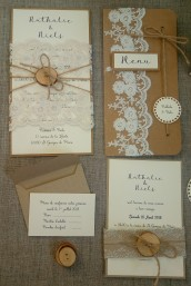 Faire part de mariage bohème, mariage thème bohème, décoration de table, menu, marque-place bohème dentelle, bois, save the date mariage bohème 7