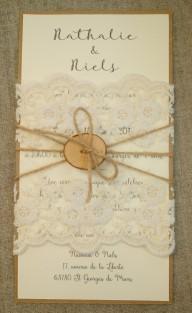 Faire part de mariage bohème, mariage thème bohème, décoration de table, menu, marque-place bohème dentelle, bois, save the date mariage bohème 8