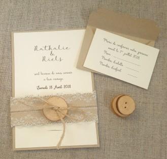 Faire part de mariage bohème, mariage thème bohème, décoration de table, menu, marque-place bohème dentelle, bois, save the date mariage bohème 9