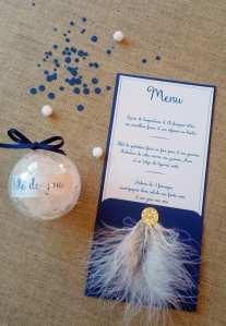 menu bleu et plume thème bulle et plume - mariage bleu blanc plume et bulle