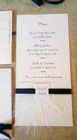 Faire-part épuré minimaliste blanc et bleu nuit 5