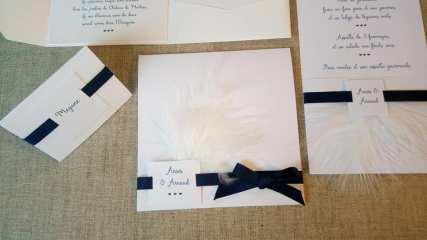 Faire-part épuré minimaliste blanc et bleu nuit 6