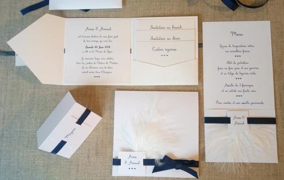 Faire-part épuré minimaliste blanc et bleu nuit 9